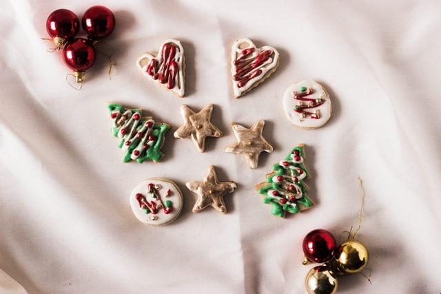 A handful of colorful Christmas cookies.